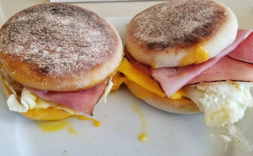 close up of two breakfast sandwiches