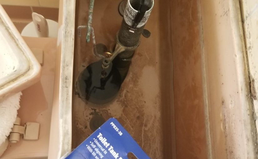 angle on mauve toilet tank with top removed and new toilet ball installed