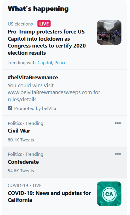 screencapture from Twitter sidebar where the topic Civil War is listed as trending