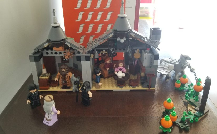 View of LEGO version of Hagrid's Hut put together