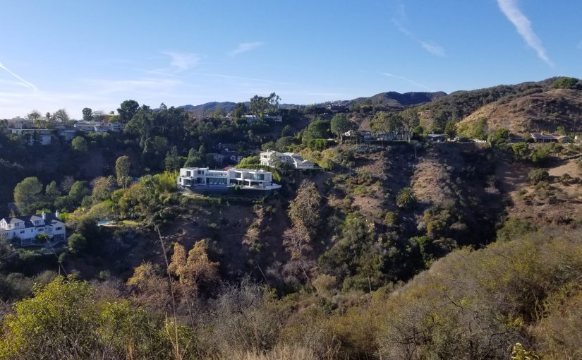 View of neighborhood canyons and homes from trail