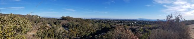 Panoramic view from the top of the trail from the mountains in Pasadena around to the ocean and Catalina