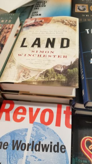 copy of Simon Winchester's new book Land