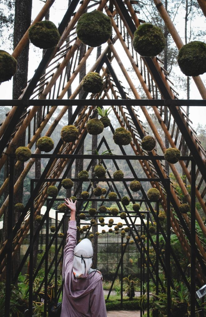 With a lush mountain backdrop, a woman pictured from behind reaches up to suspended rocks and plants hanging from an artistic bamboo and metal structure.