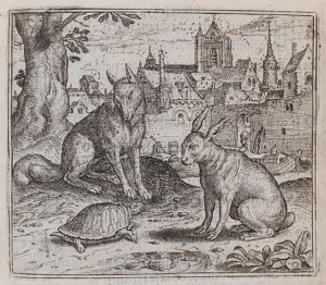 Woodcut of tortoise and the hare from Aesops fables