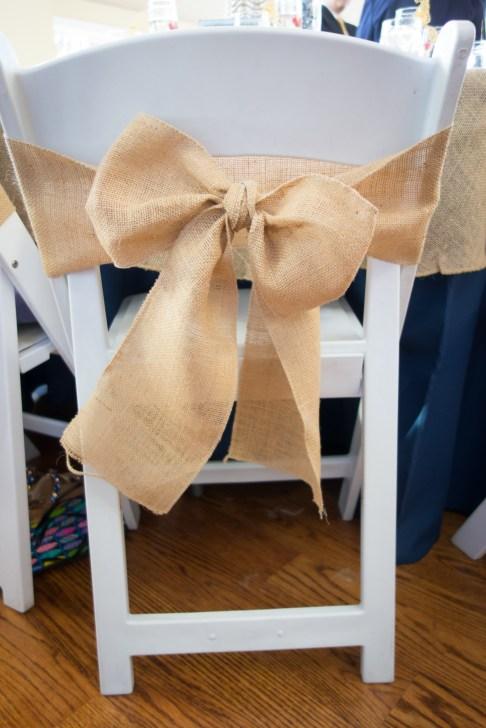 rustic wedding burlap chair bows