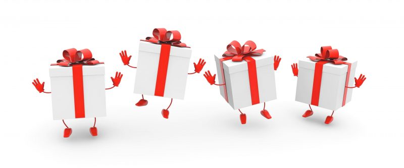 A 3D rendering illustration of dancing gift boxes with bows on a white background