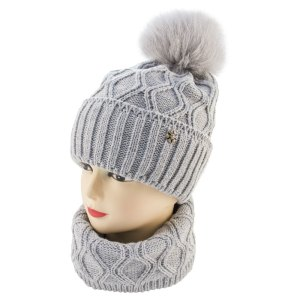 Набор шапка и снуд с помпоном SWN 20-02 севтло-серый