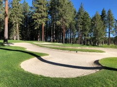 Closer view of 6th green and bunkers.