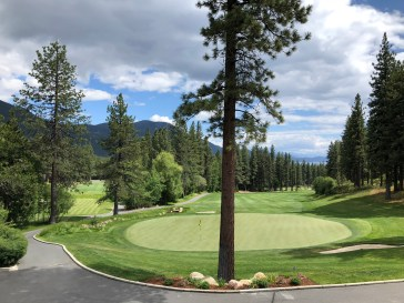Looking down on 18th green from clubhouse patio.