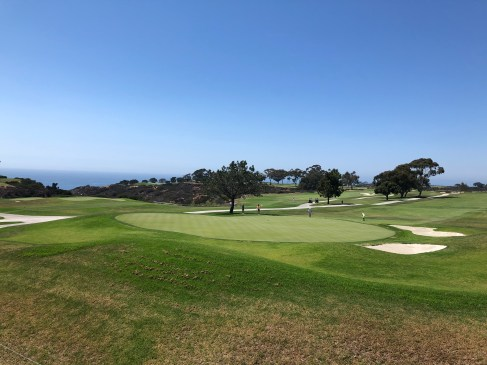 Side view of 18th from alongside the clubhouse.