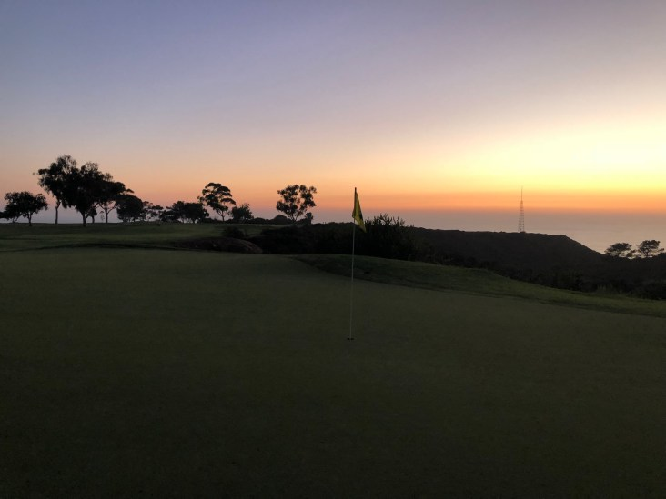 Behind 17th green with the last bit of usable sunlight. Wasn't able to get any pictures of 18 in the darkness.
