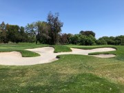 Side view of 18th green and bunkers.