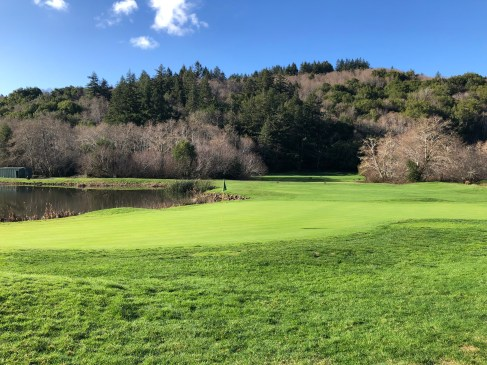 Pre-round view of the 9th green.