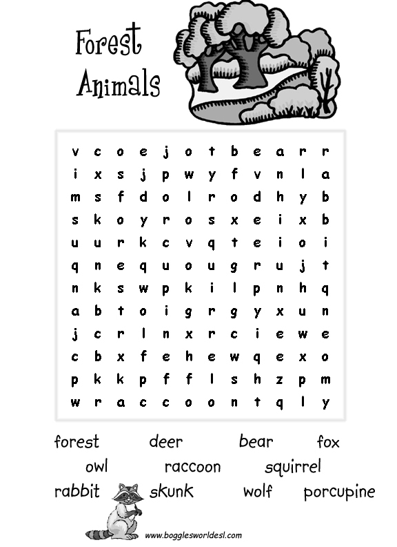 Easy Zoo Animals Word Search - Free Word Search Puzzles