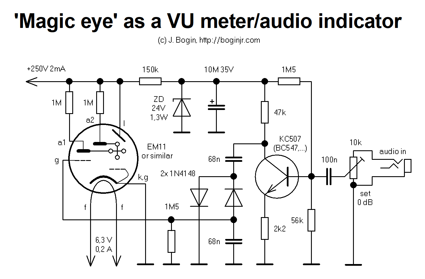 Magic Eye Tuning Indicator As A Vu Meter Bogin Jr