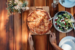 Pizza with green salad