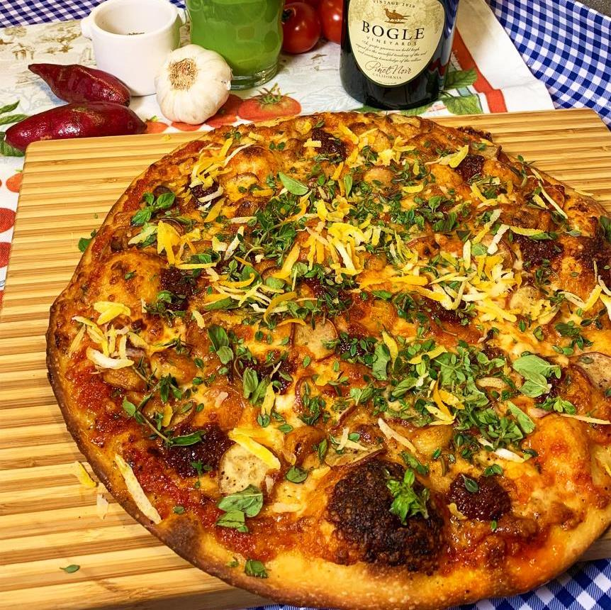 Roasted Garlic Njuda and Sweet Potato Herb Pizza by Emily F.