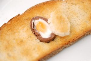 Now THIS is breakfast: Cadbury Egg in the middle. Mind = blown.