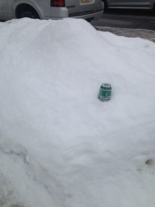 Gotta keep that Genny cool, amirite? (Found in a snowbank on our street. Was not there when I left for my run.)