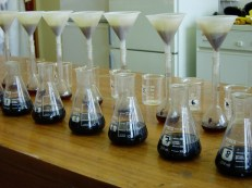 Humic acids are being extracted from the peat samples