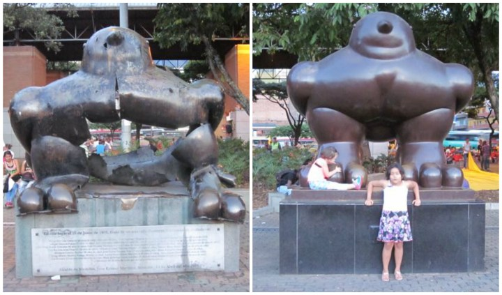 The new and old 'Pajaro' from Botero stand next to each other as a memorial to the 23 killed by a bomb in 1995.