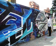 working on the mural