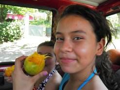enjoying sugar mangos