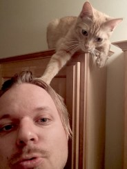 Me and Fireball, my personal hair stylist.