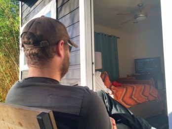 Down in Texas, Todd takes in some sun while watching his football game on our sunday off.
