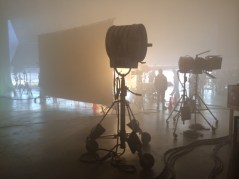Some lights in the fog. In an airplane hangar