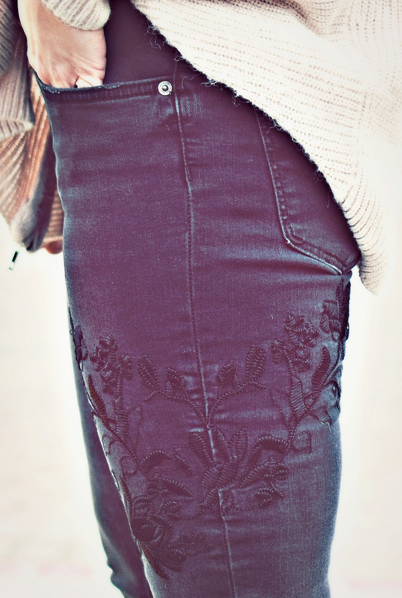 black zara jeans with embroidered detail