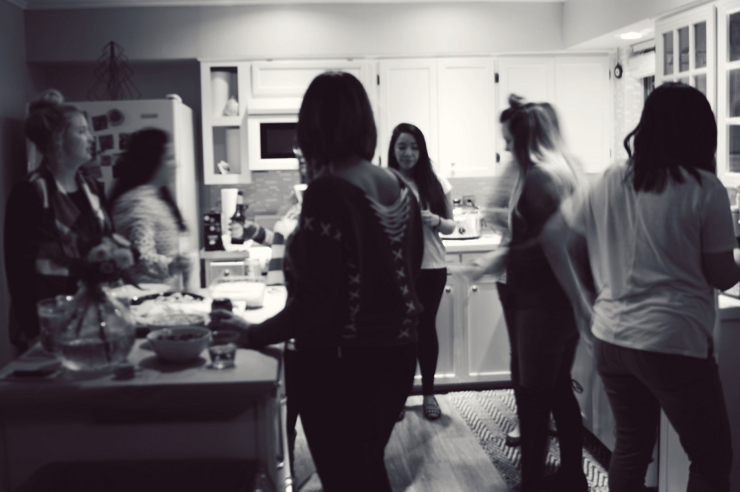 gathered around the food at the girls christmas party
