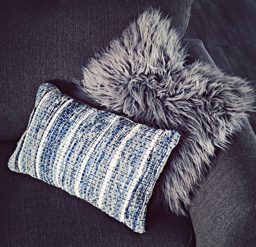 fluffy gray and bohemian style toss pillows