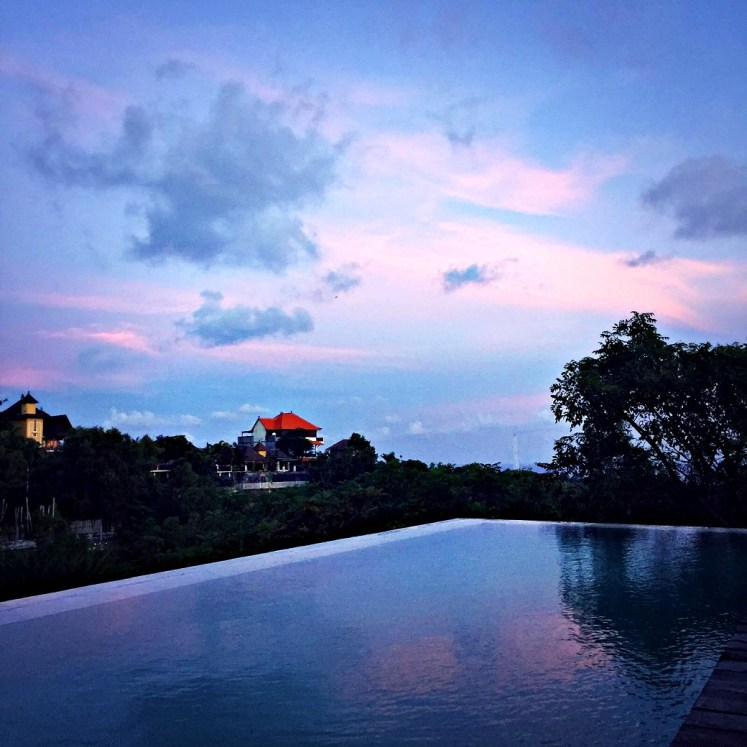 cotton candy sky at villa adila south kuta bali indonesia