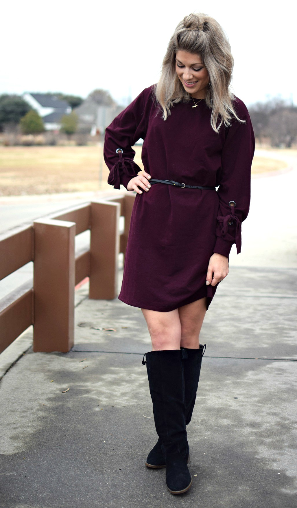vince camuto maroon dress with black boots