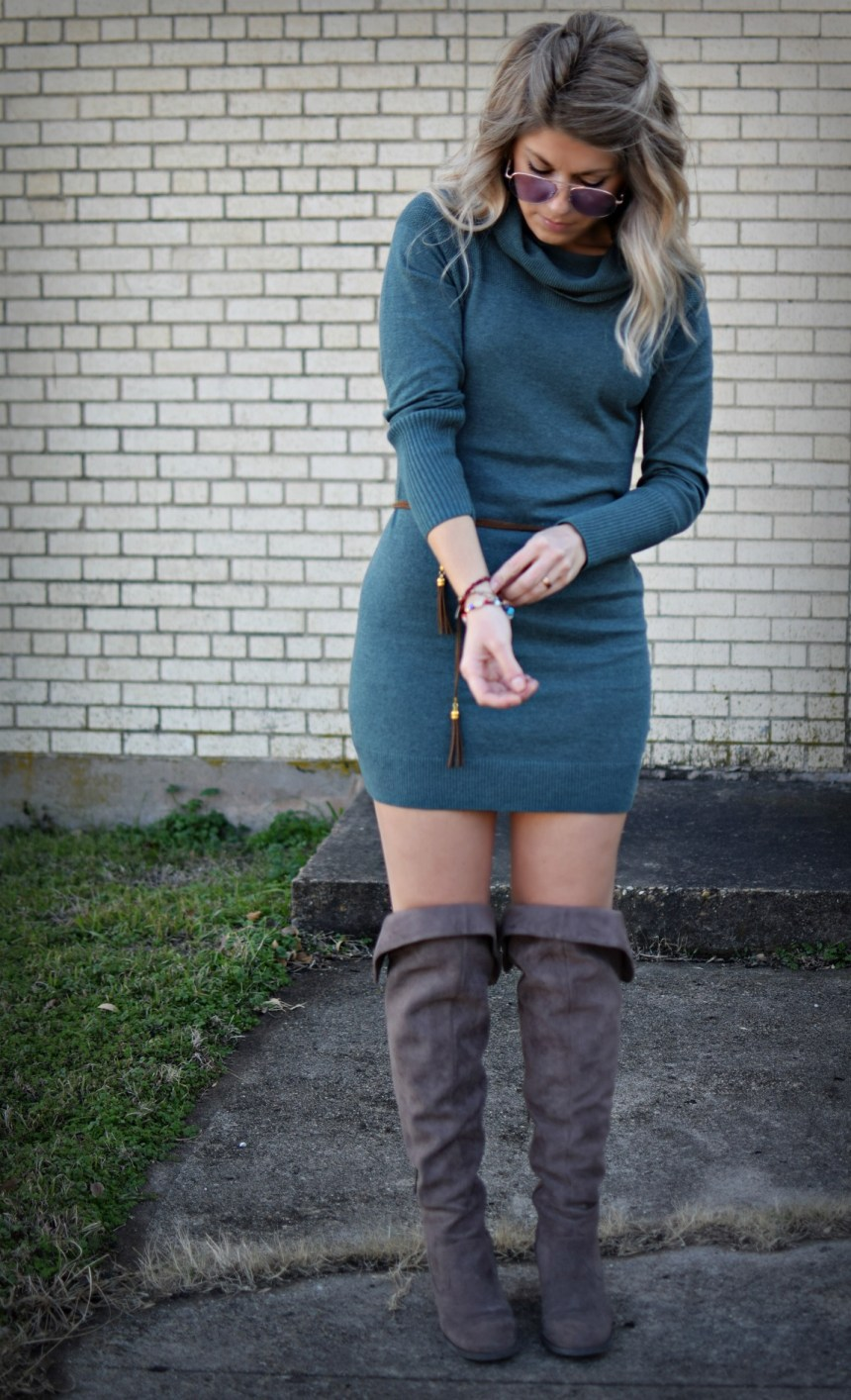 boho chic sweaterdress and sweater with knee high boots