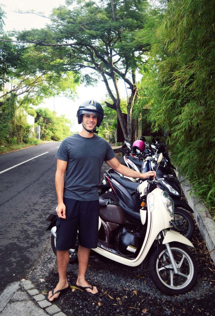 dekel with our rented motorbike in south kuta villa adila bali indonesia