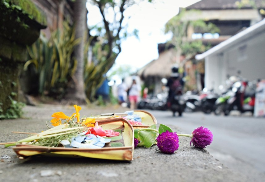 offering to the gods on the streets of ubud bali