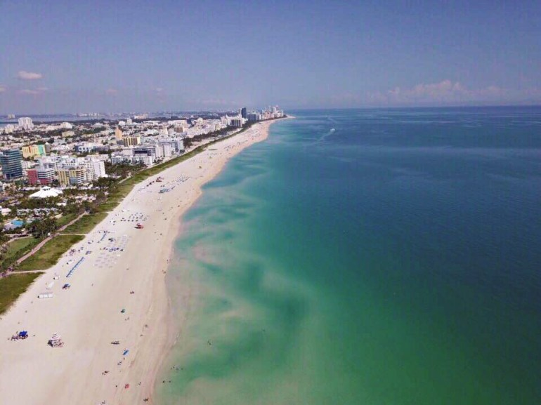 south beach miami view from the sky with drone photography