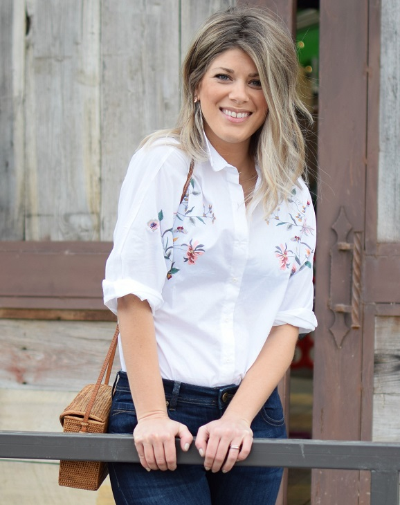 buffalo exchange flare jeans and white embellished embroidered button up top