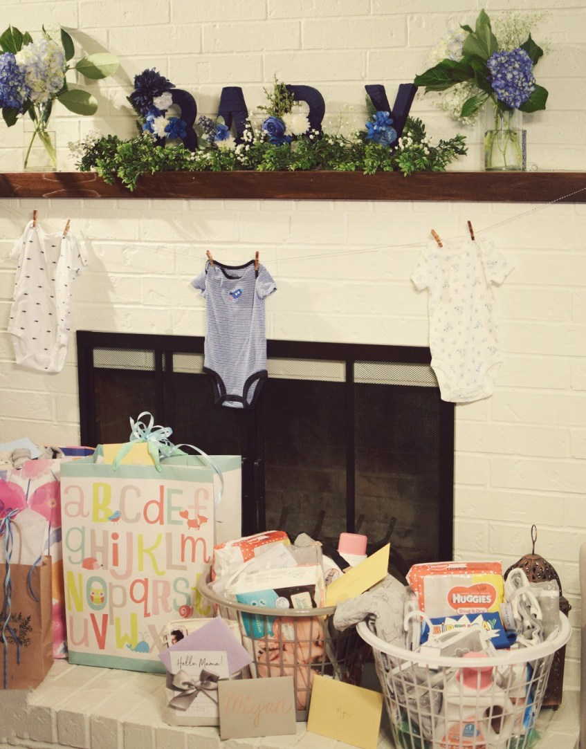 baby shower mantle decor and gifts