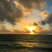 Heart shaped sunrise in Tulum