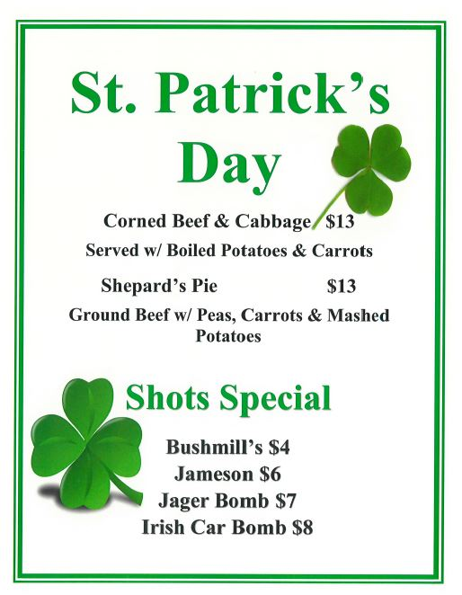 St. Patty's Pic Specials