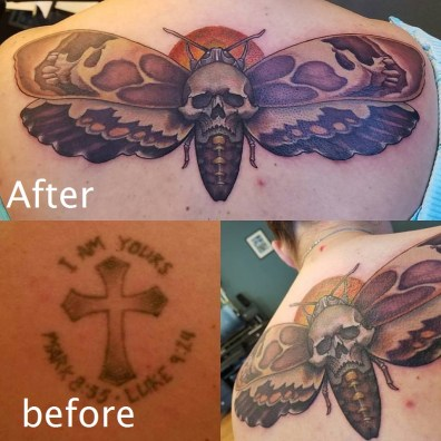 death head moth cover up tattoo