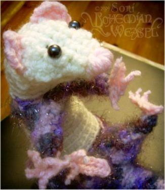 crochet squeasel weasel by Soni Alcorn-Hender