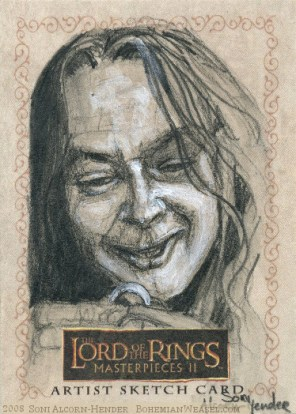 Sméagol takes The Ring Topps Lord of the Rings LotR Masterpieces 2 sketch card by Soni Alcorn-Hender