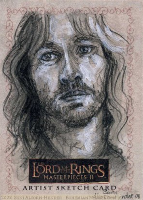 Since you are robbed of Boromir, I will do what I can in his stead. Topps Lord of the Rings LotR Masterpieces 2 sketch card by Soni Alcorn-Hender