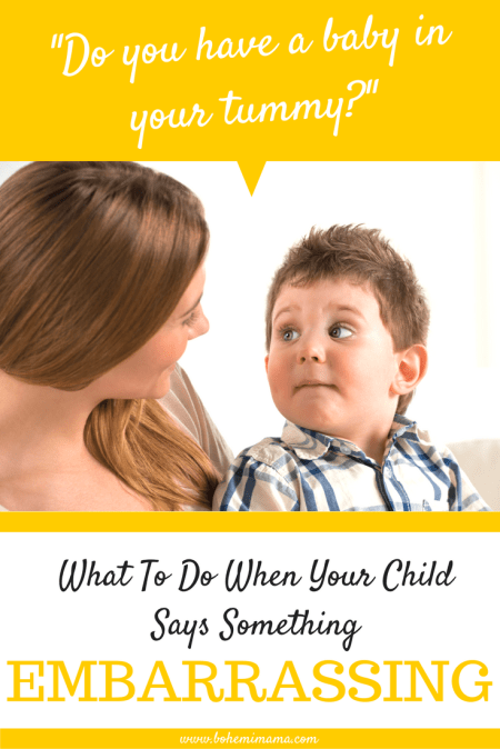 It happens to all of us. What do you do when your innocent kids says something horrifying to a stranger, friend, or family member? How do you recover with grace and kindness? Learn how to teach your child what they can say and what they should keep to themselves.