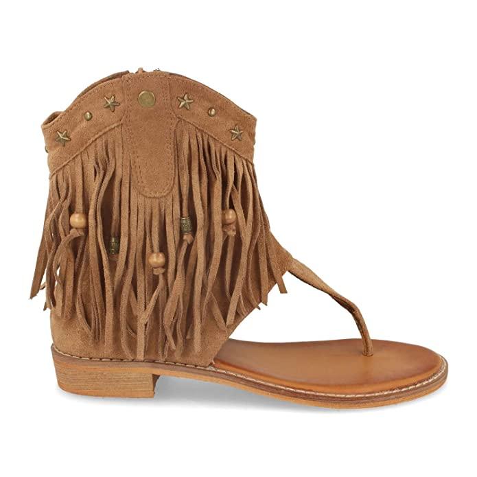 Sandalias boho camel con flecos